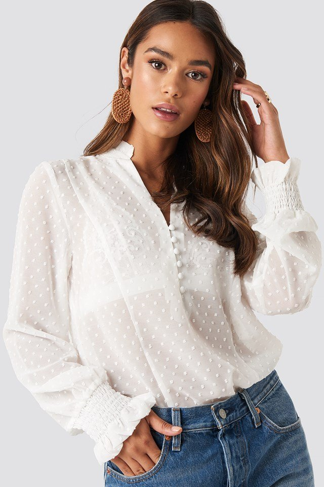 Dobby Flowy Buttoned Blouse White