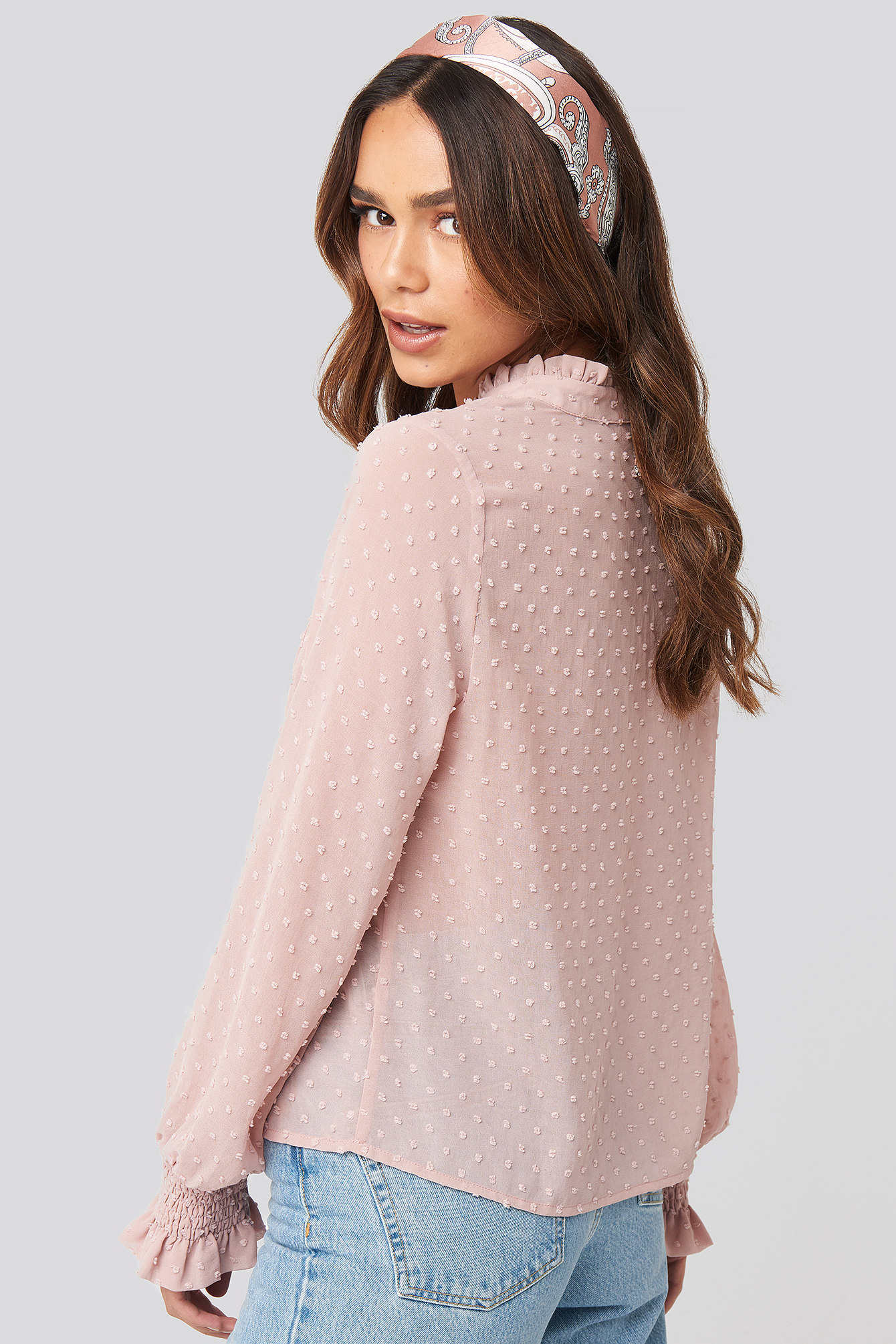 Dusty Pink Dobby Flowy Buttoned Blouse