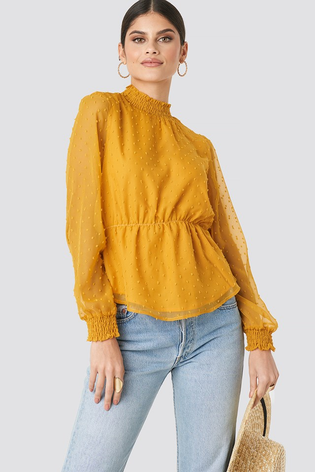 Dobby High Neck Blouse Dark Yellow