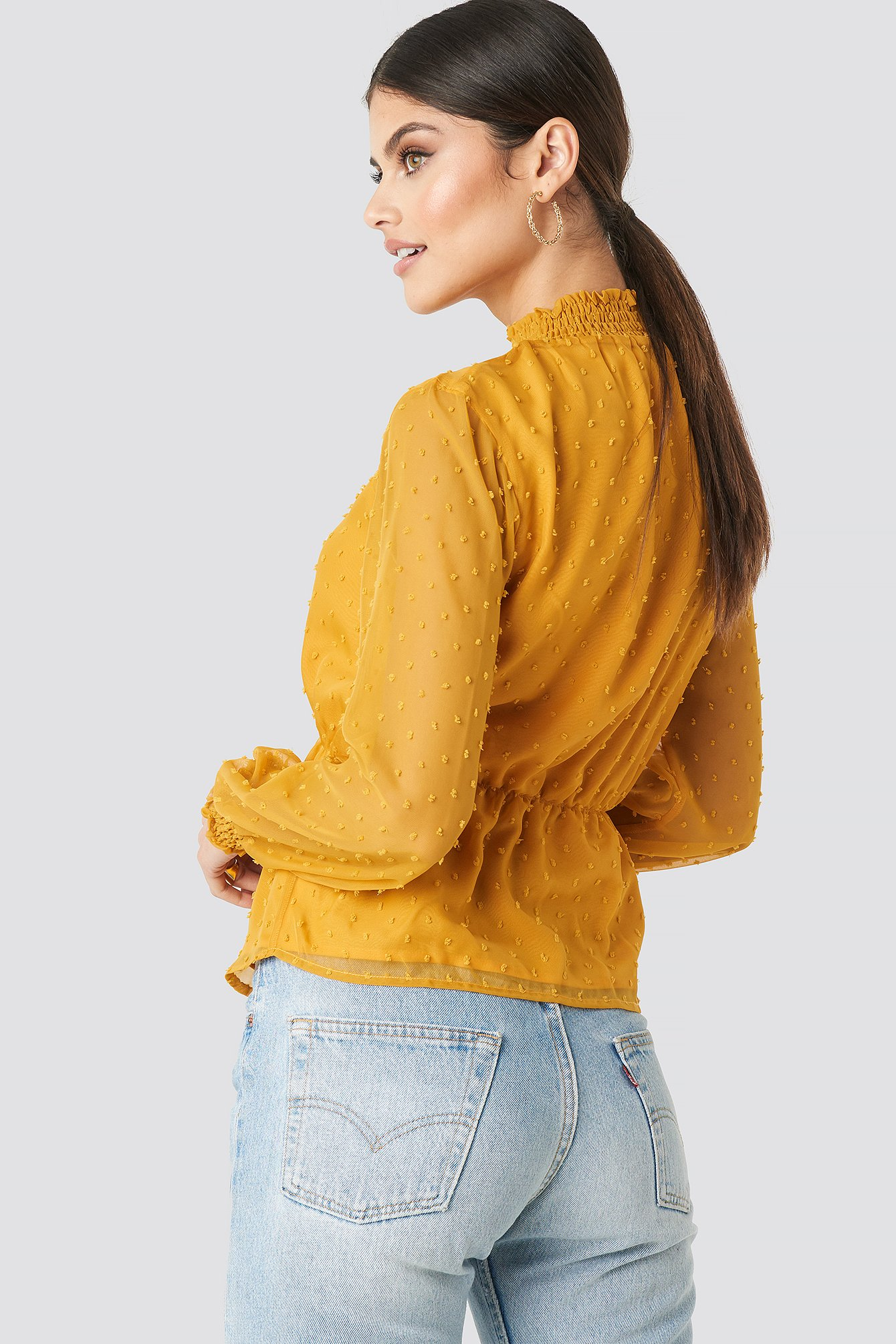 Dark Yellow Dobby High Neck Blouse