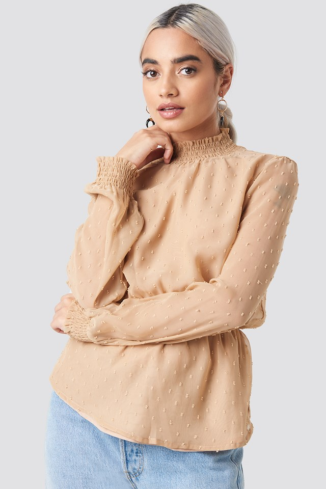 Dobby High Neck Blouse Beige
