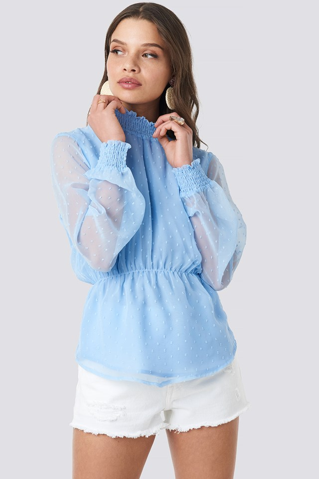 Dobby High Neck Blouse Light Blue