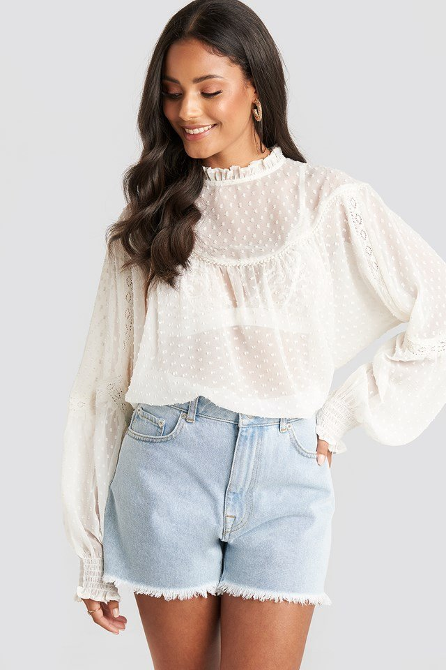 Dobby Lace Detail Blouse White