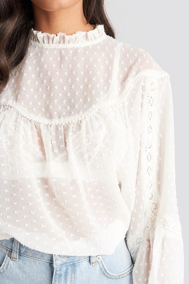 Dobby Lace Detail Blouse White