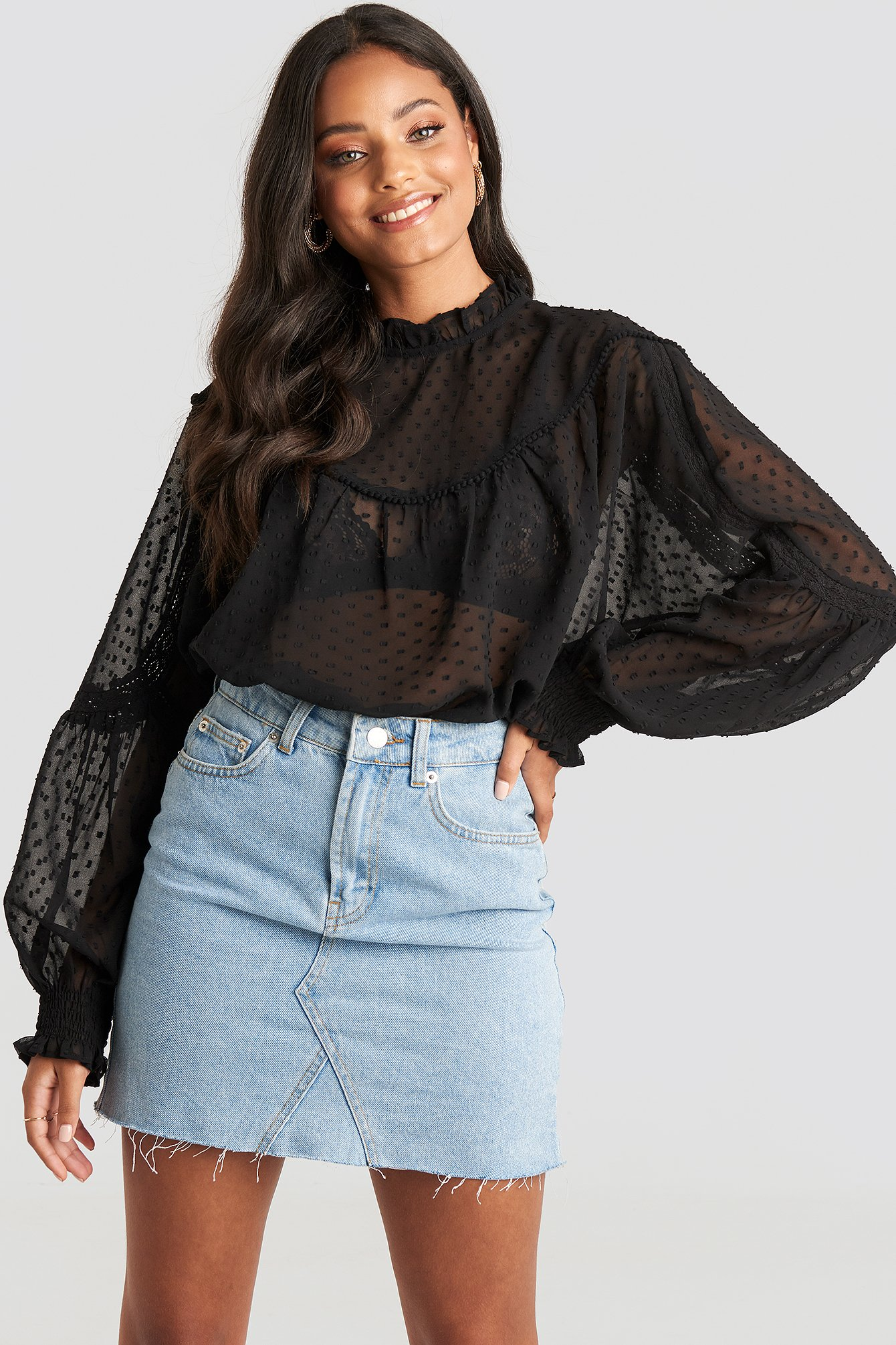Black Dobby Lace Detail Blouse