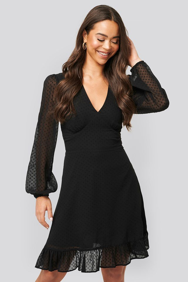Dobby Marked Waist Mini Dress Black