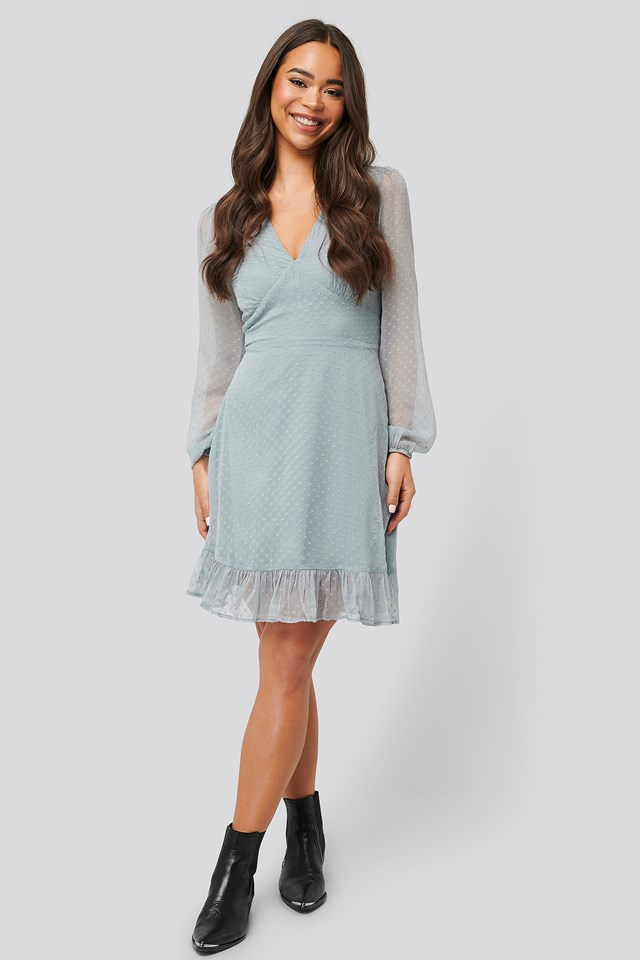 Dobby Marked Waist Mini Dress Dusty Blue