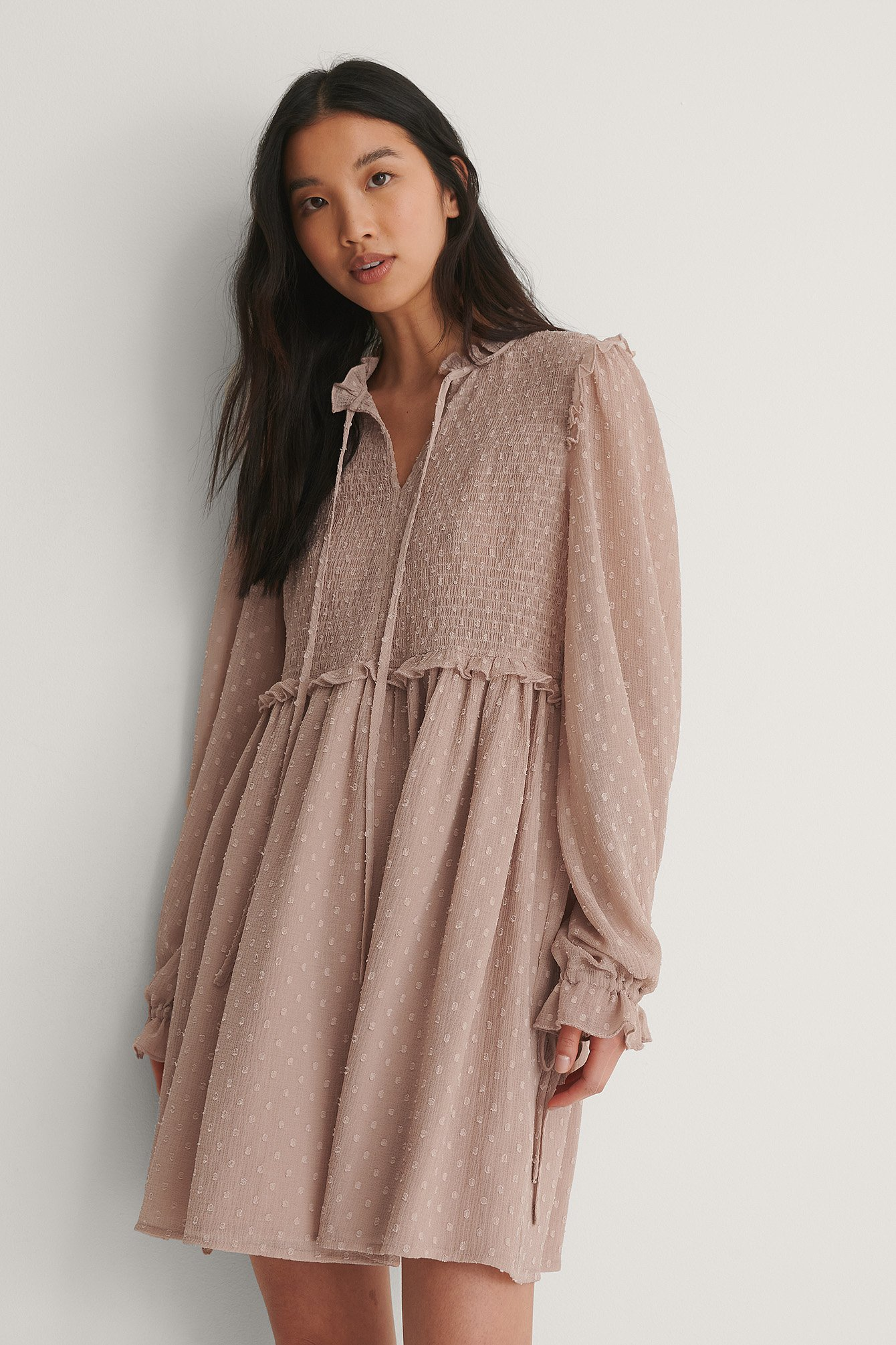 Taupe Dobby Mini Dress