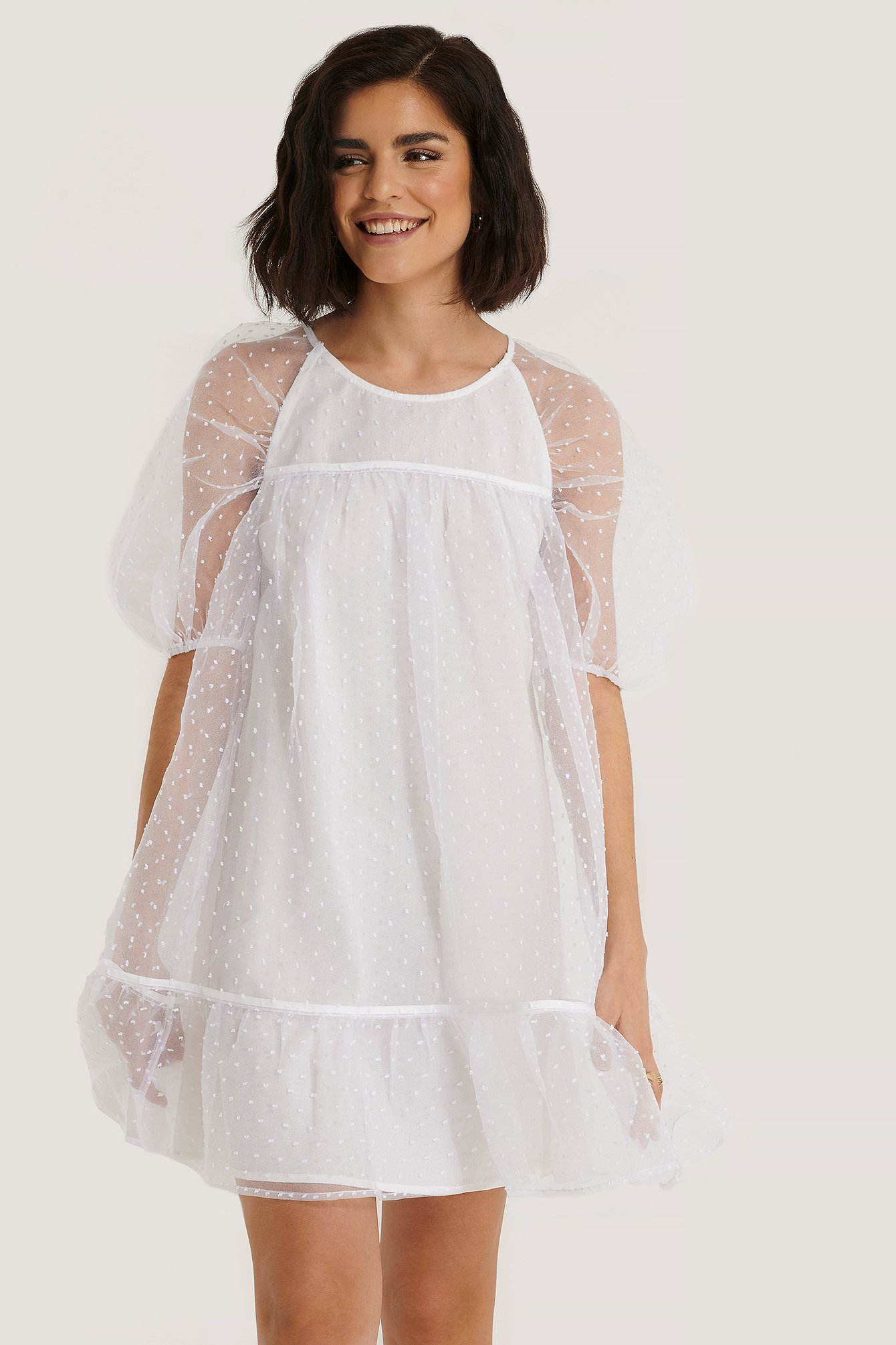 White Dobby Organza Mini Dress