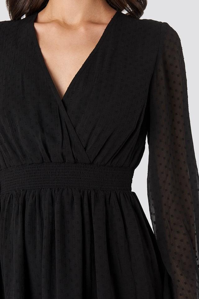 Dobby Overlap Mini Dress Black