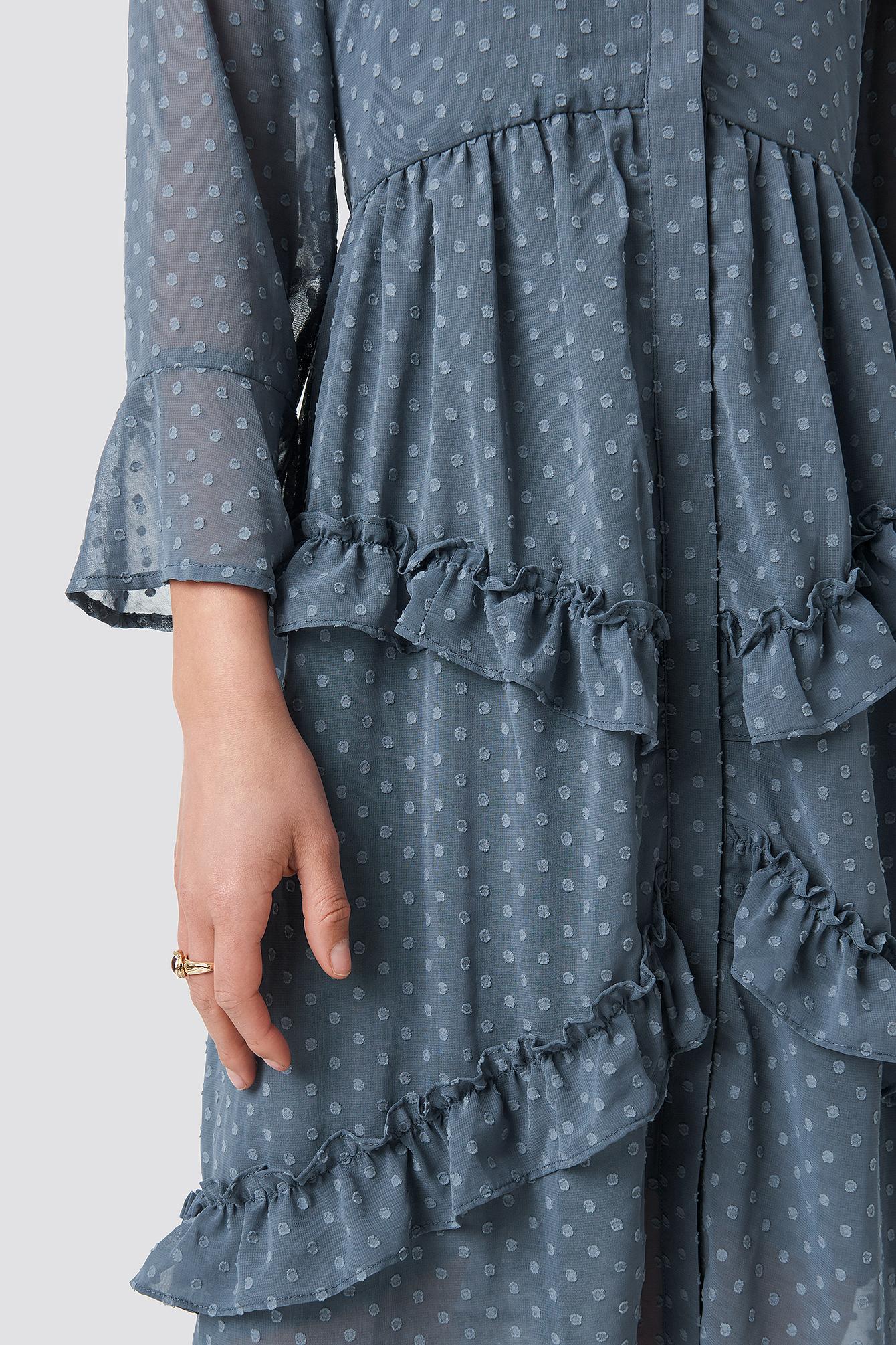Dobby Spot Frill Midi Dress NA-KD.COM