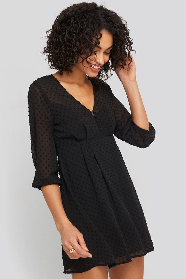 Dobby Spot Mini Dress Black