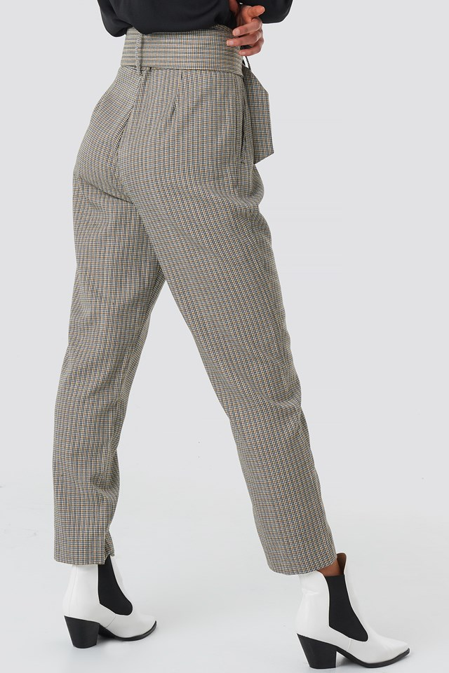 Dogtooth Asymmetric Belted Suit Pants NA-KD.COM