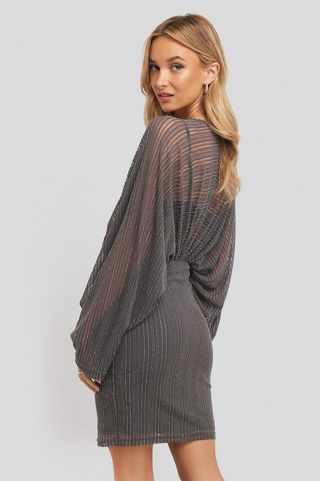 Dolman Glittery Mini Dress Silver
