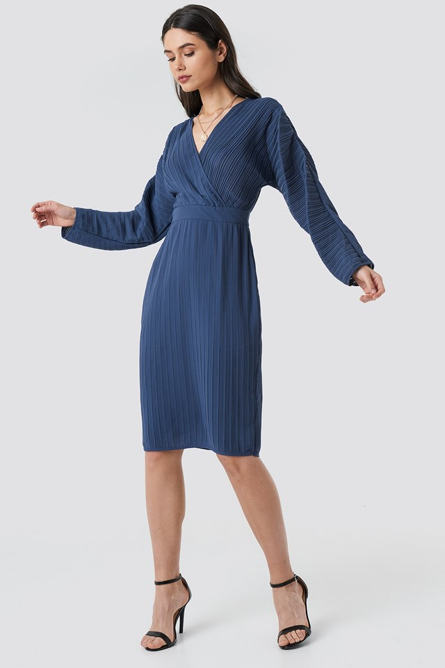 Dolman Sleeve Pleated Dress Dark Dusty Blue