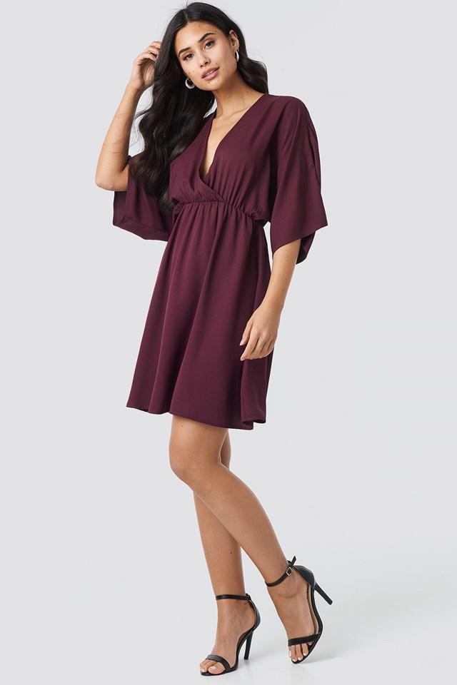 Dolman Sleeve Wrap Front Dress Dark Burgundy