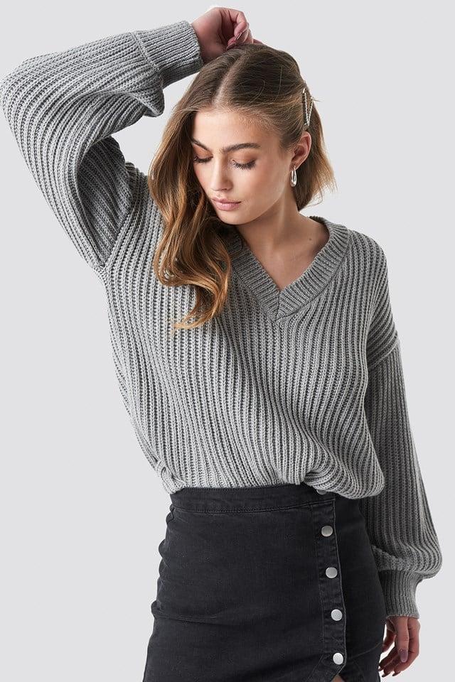 Balloon Sleeve V Shape Knitted Sweater NA-KD.COM