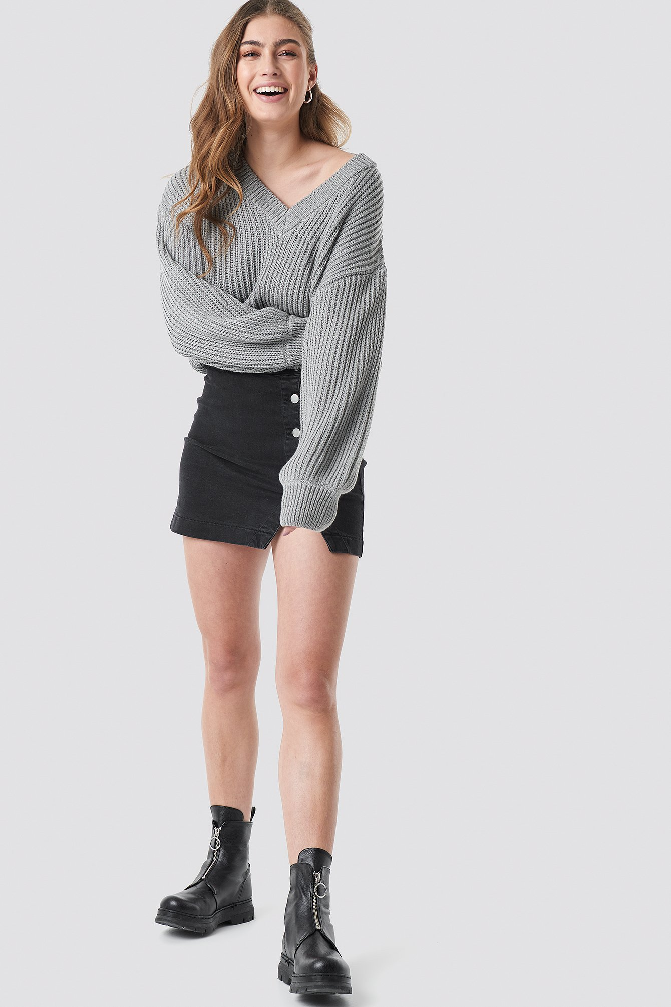Balloon Sleeve V Shape Knitted Sweater NA-KD.COM
