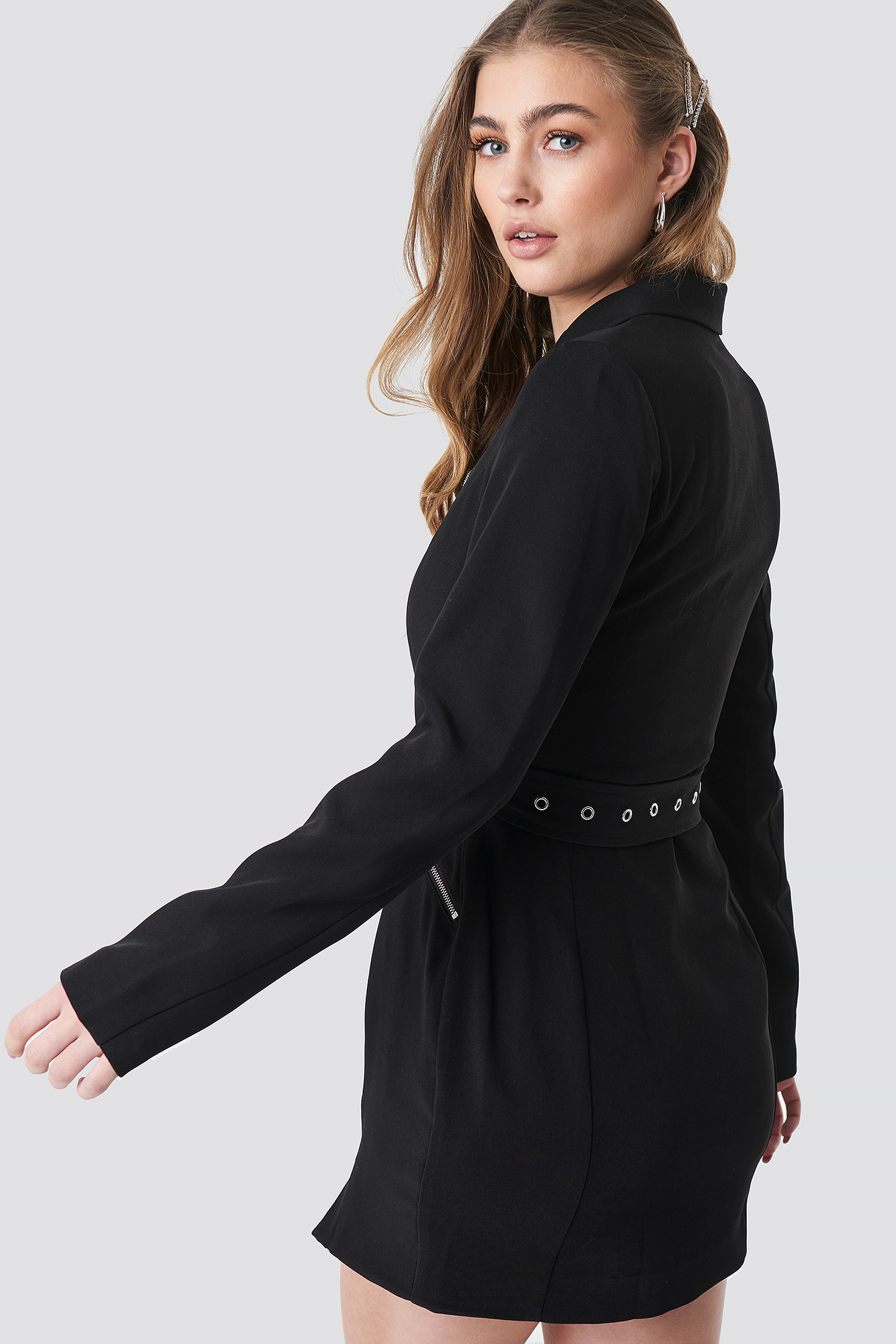 Belted Zip Detail Blazer Dress NA-KD.COM