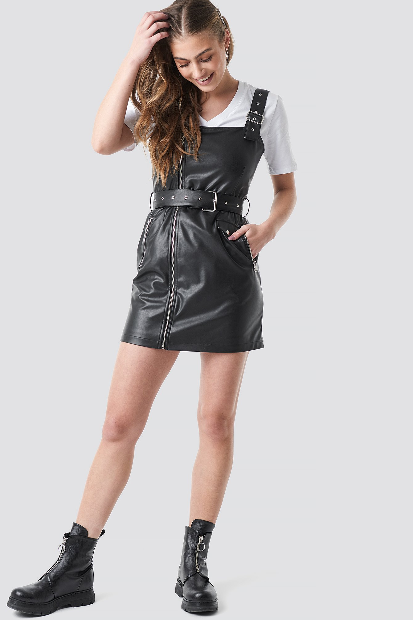 Buckle Belted Faux Leather Dress NA-KD.COM