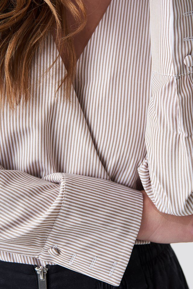 Wrap Over Striped Shirt Striped