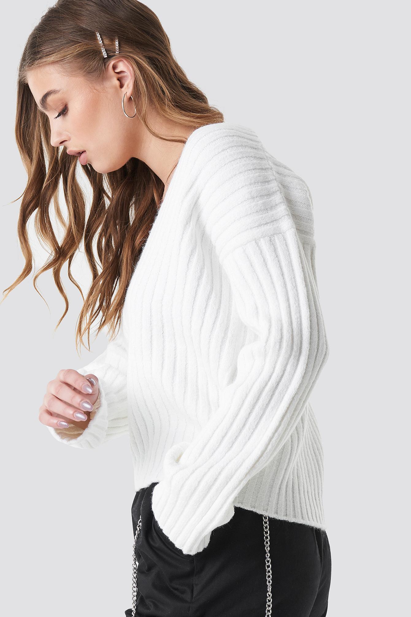 V Shape Ribbed Knitted Sweater NA-KD.COM