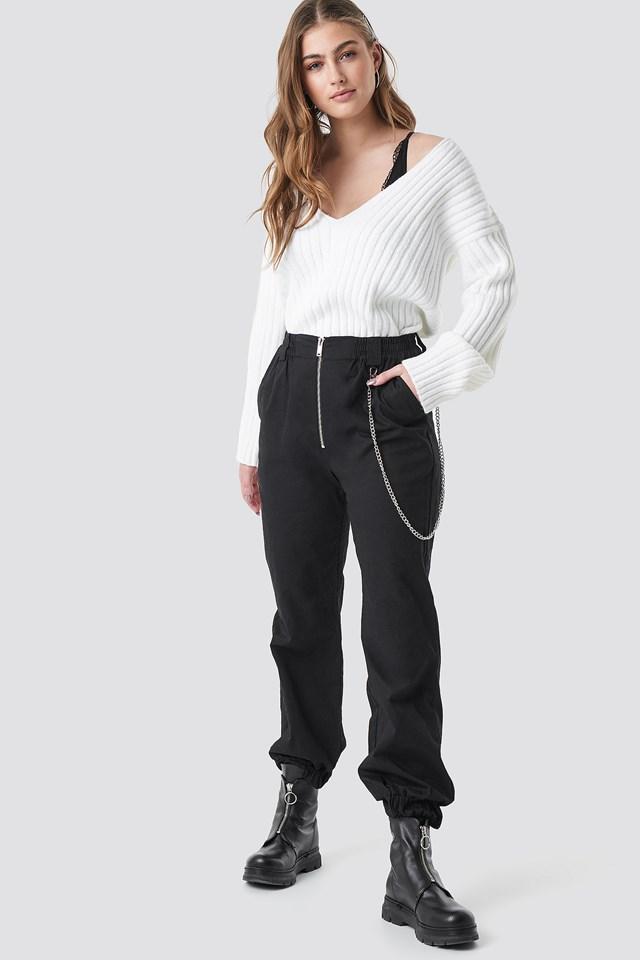 V Shape Ribbed Knitted Sweater White