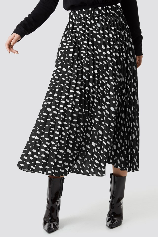 Dot Print Pleated Midi Skirt Black/White