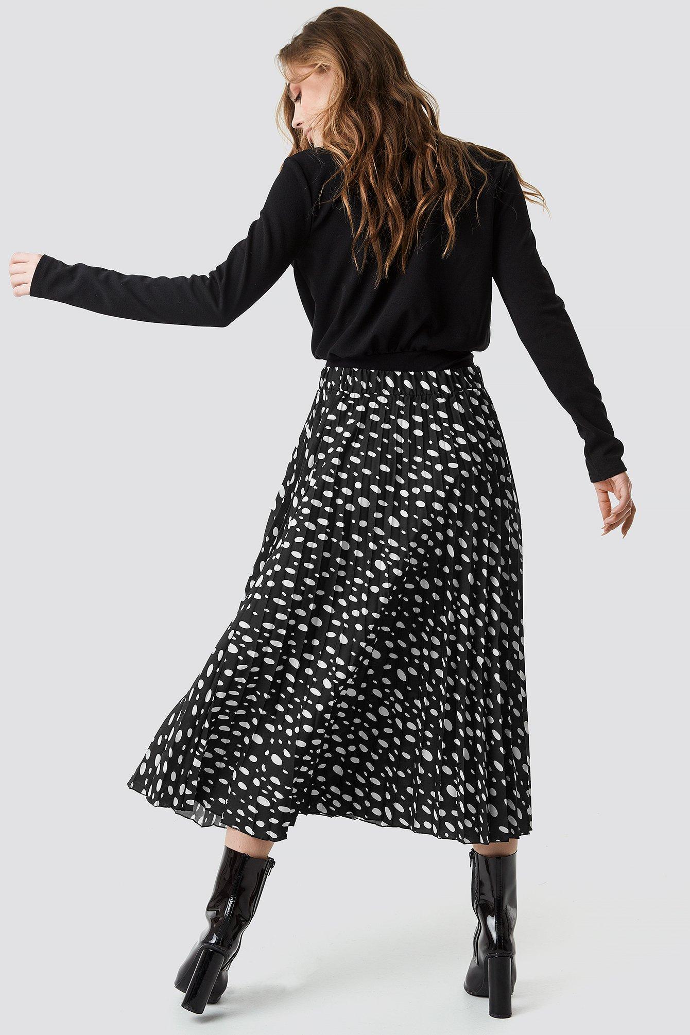 Dot Print Pleated Midi Skirt NA-KD.COM