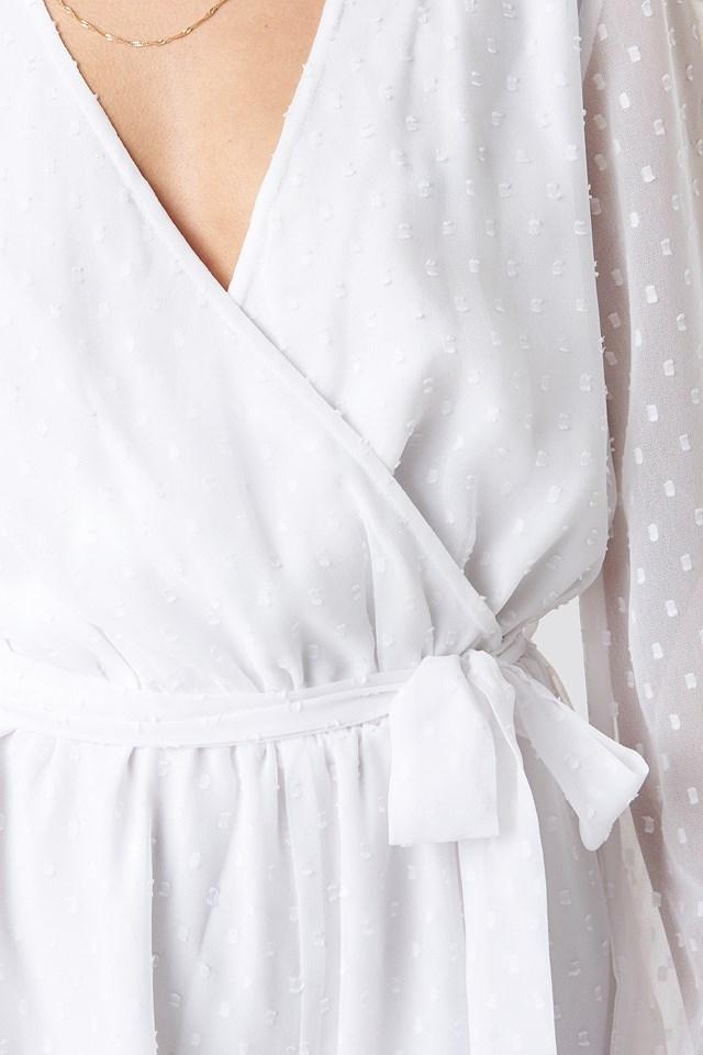 Dotted Chiffon Playsuit White