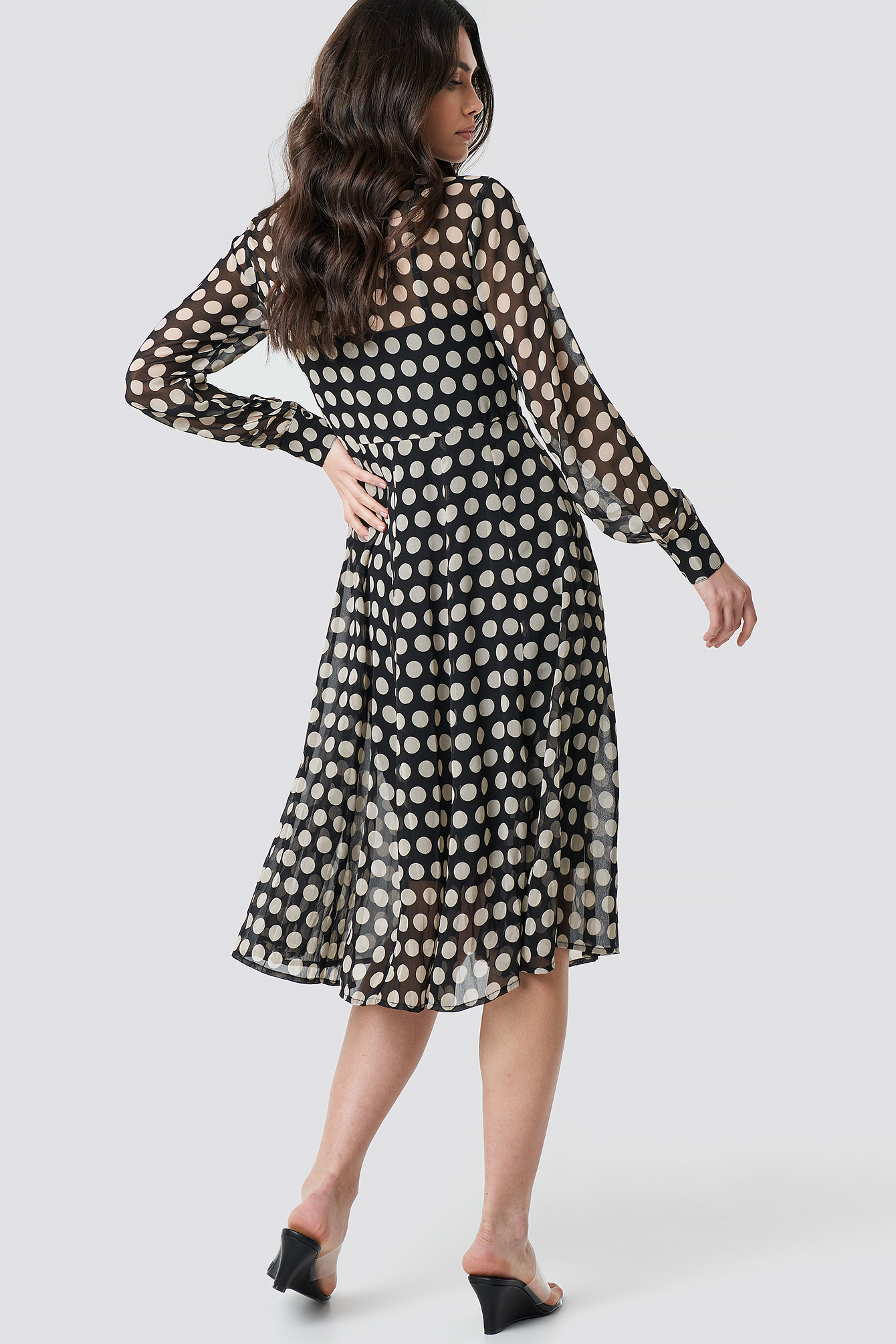 Dotted Chiffon Shirt Dress NA-KD.COM