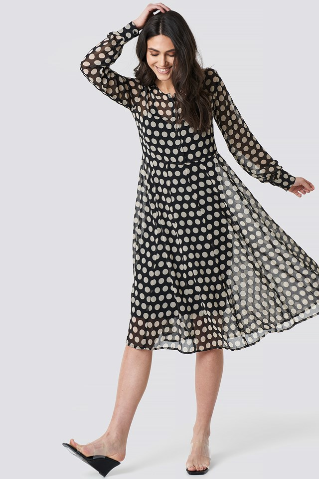 Dotted Chiffon Shirt Dress NA-KD.COM