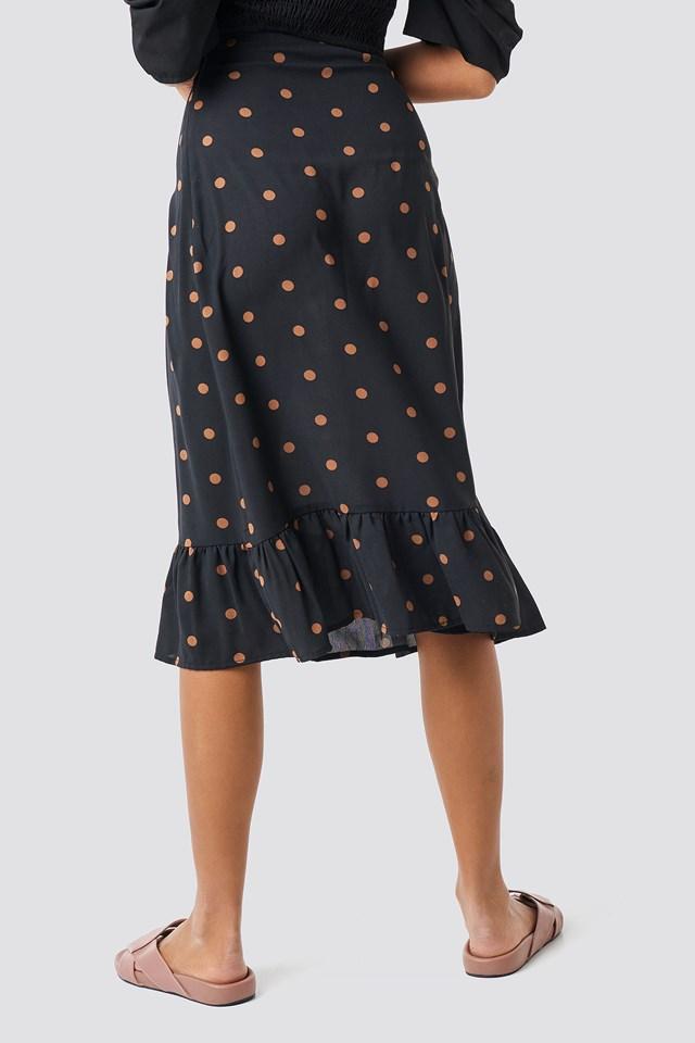 Dotted Flounce Midi Skirt Dots