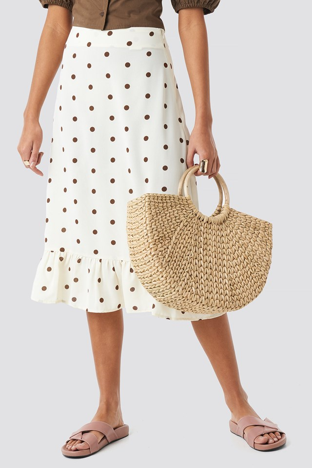 Dotted Flounce Midi Skirt White/Brown Dots