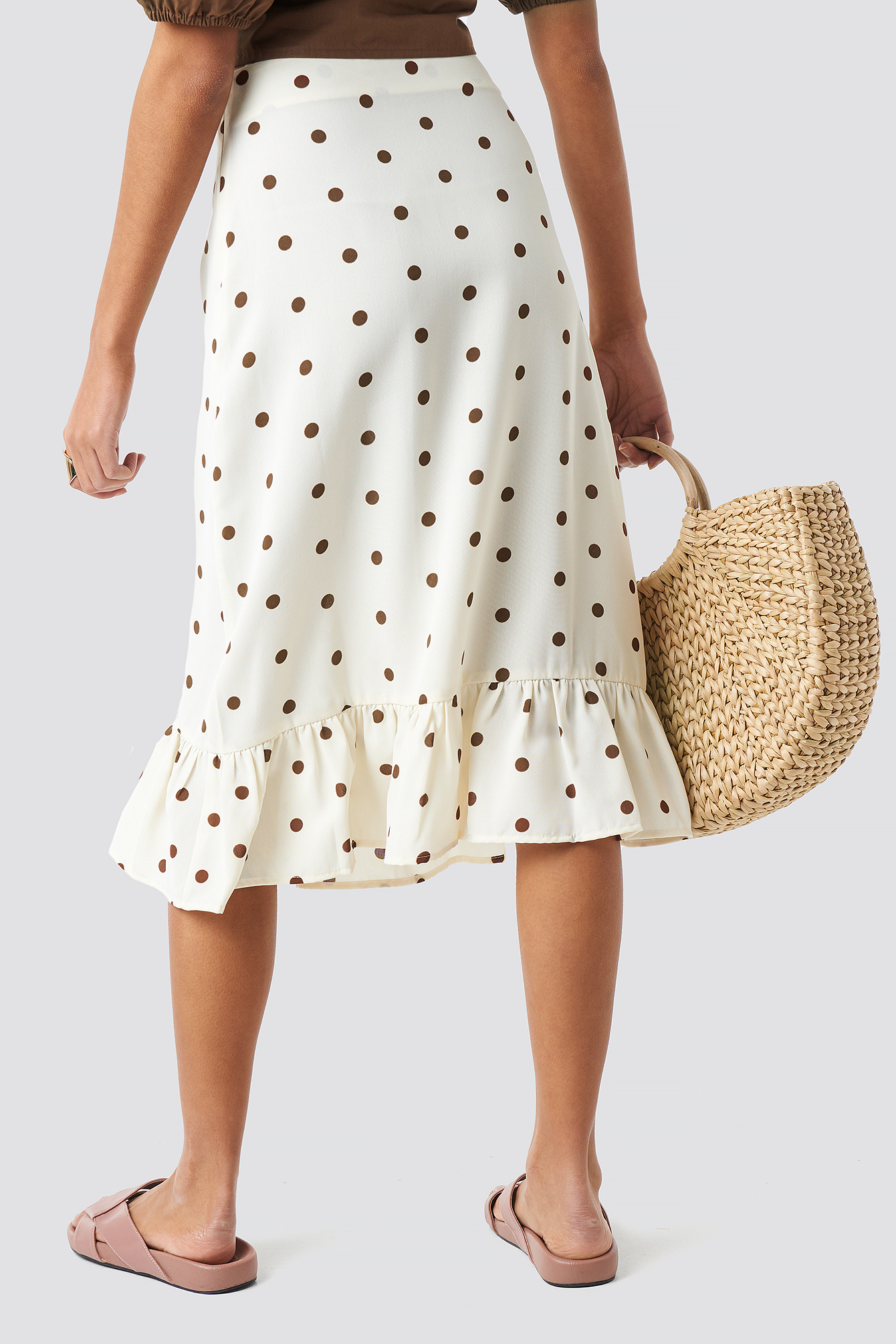 Dotted Flounce Midi Skirt NA-KD.COM