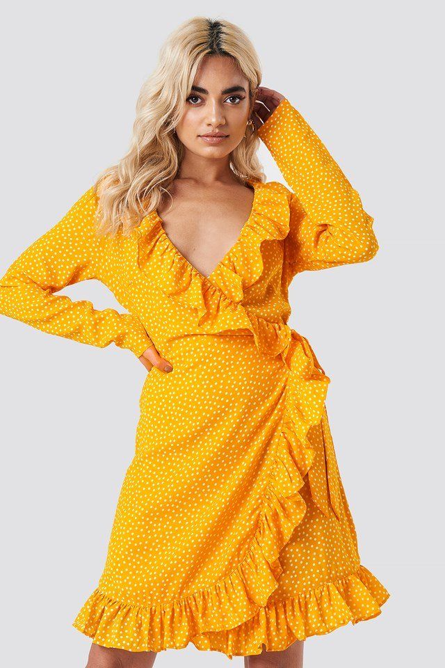 Dotted Frill Dress Yellow