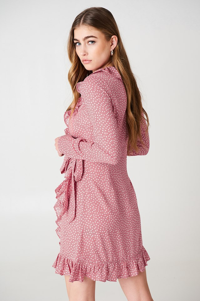 Dotted Frill Dress Dusty Pink