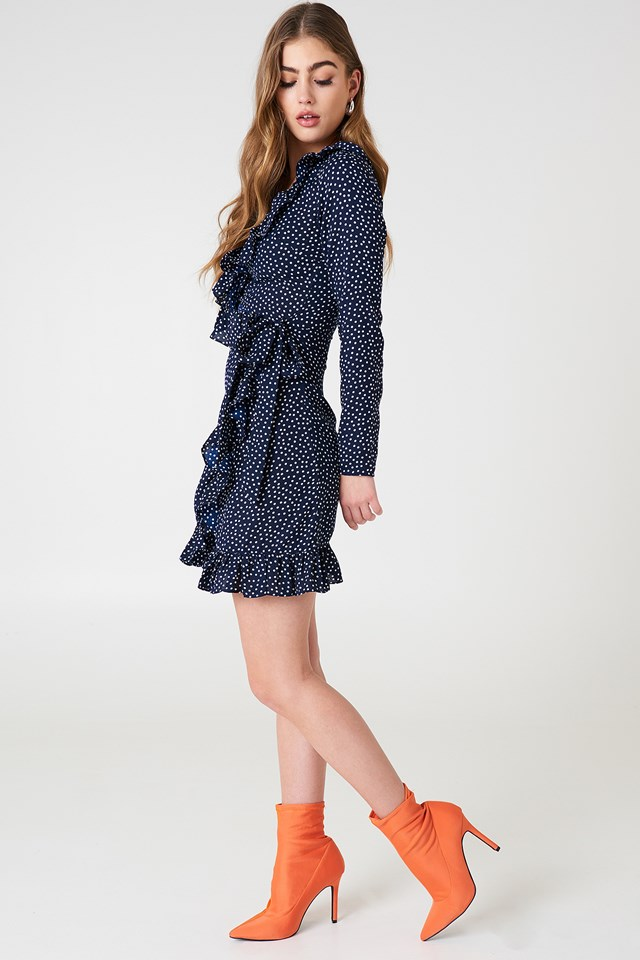 Dotted Frill Dress Dot Print