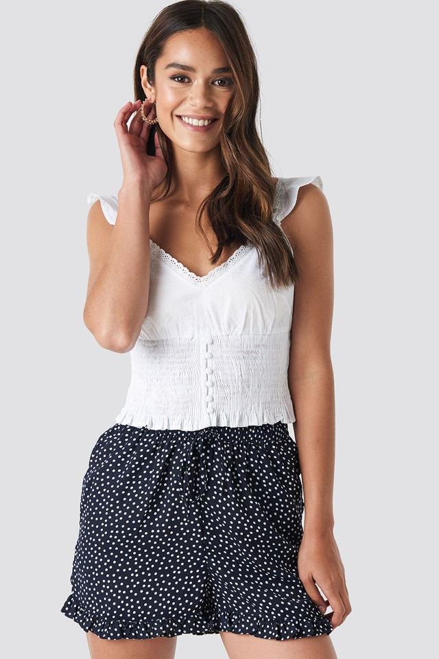Dotted Frill Hem Shorts Blue/White Dot