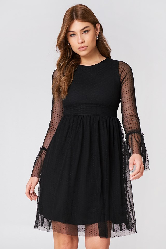 Dotted Mesh Dress Black