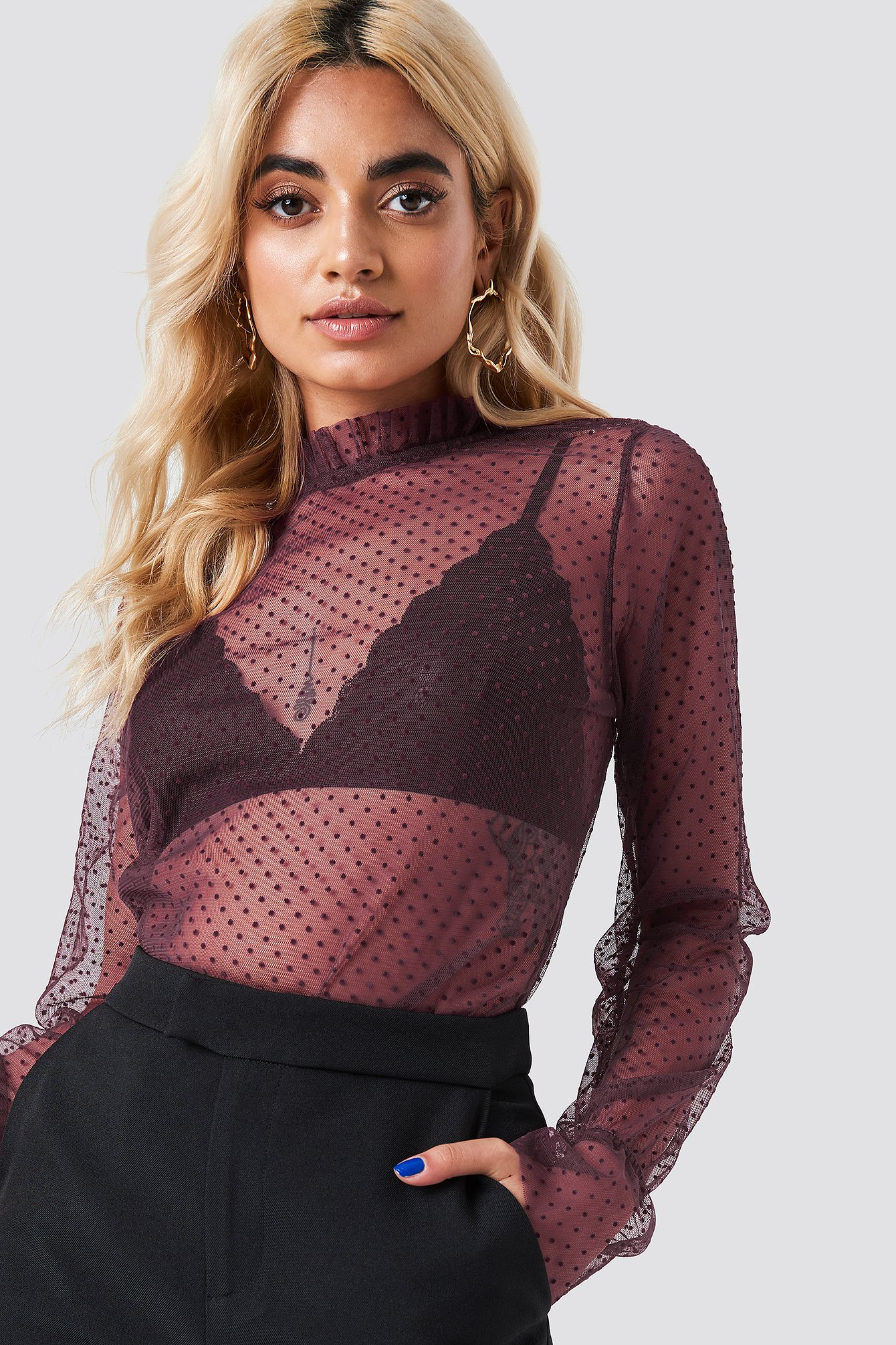 na-kd party -  Dotted Mesh Long Sleeve Top - Purple