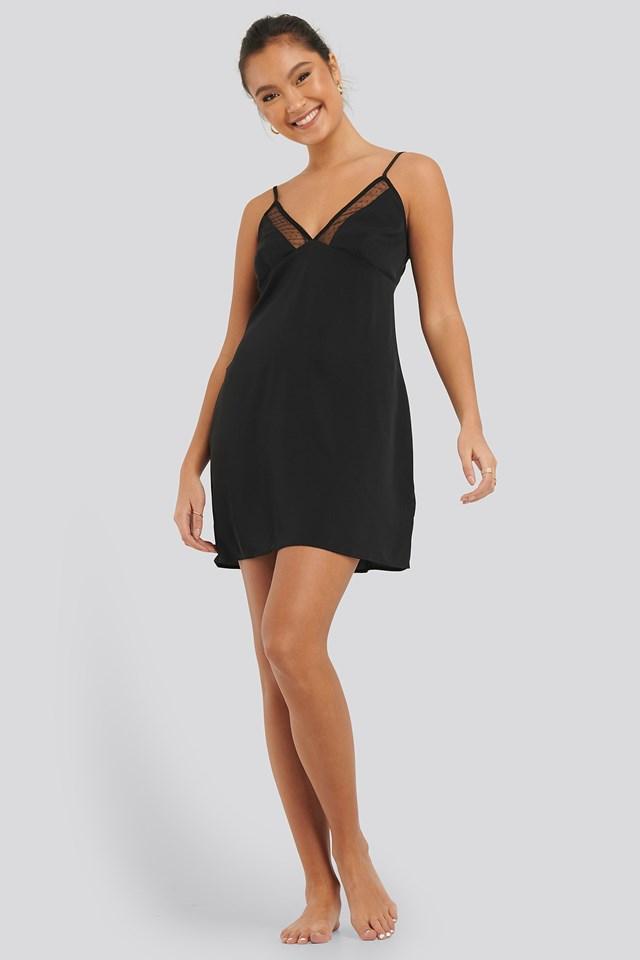 Dotted Mesh Night Dress Black