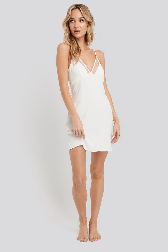 Dotted Mesh Night Dress Coconut White