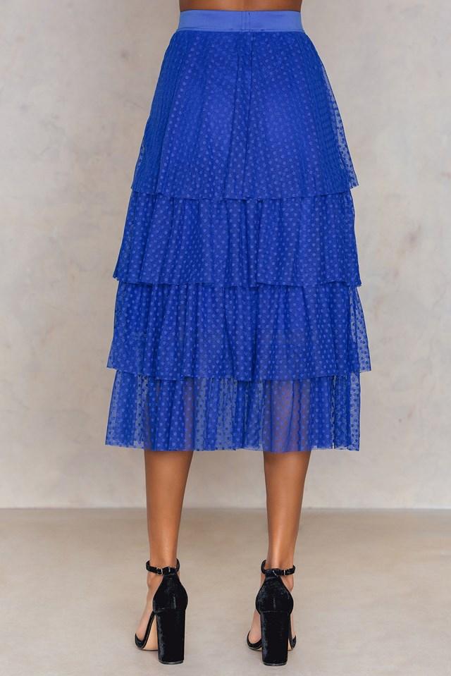 Dotted Mesh Skirt Cobolt