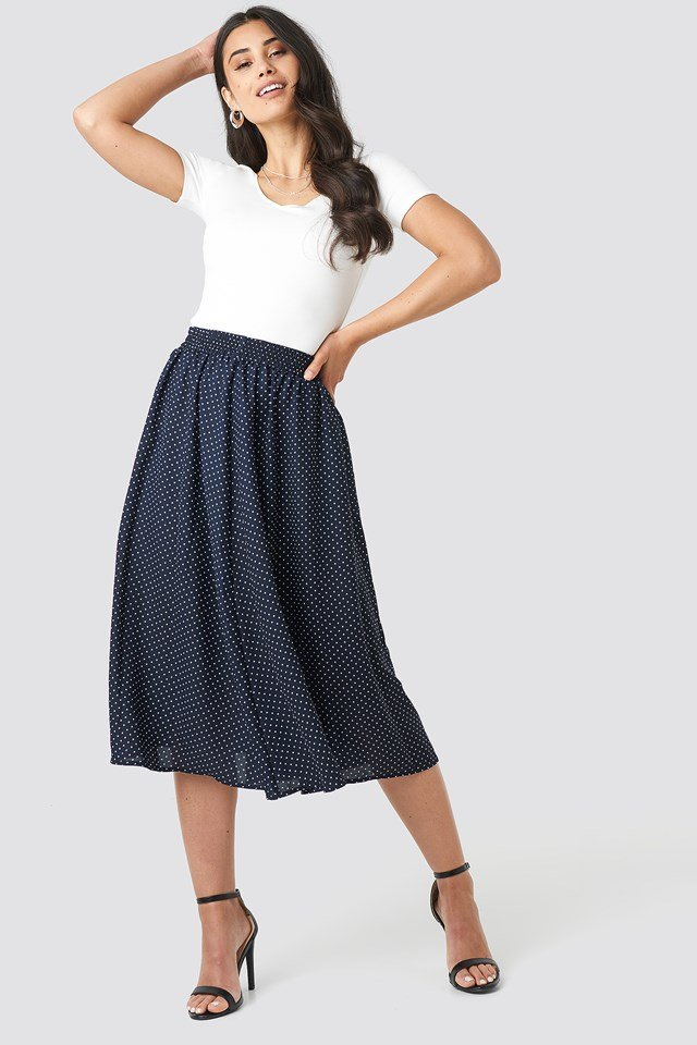 Dotted Midi Skirt Navy