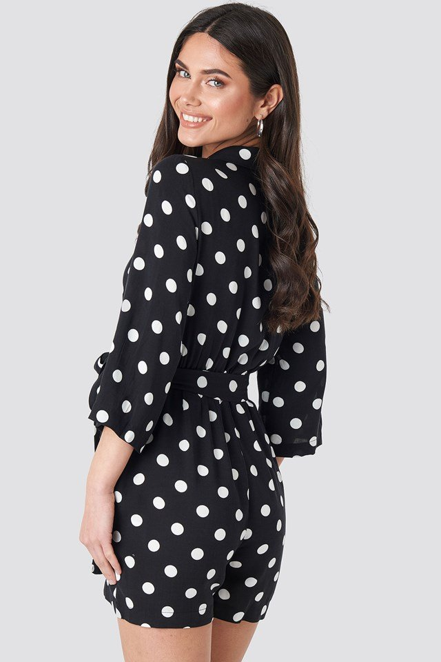 Dotted Playsuit Black