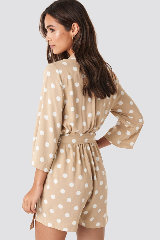 Dotted Playsuit Beige