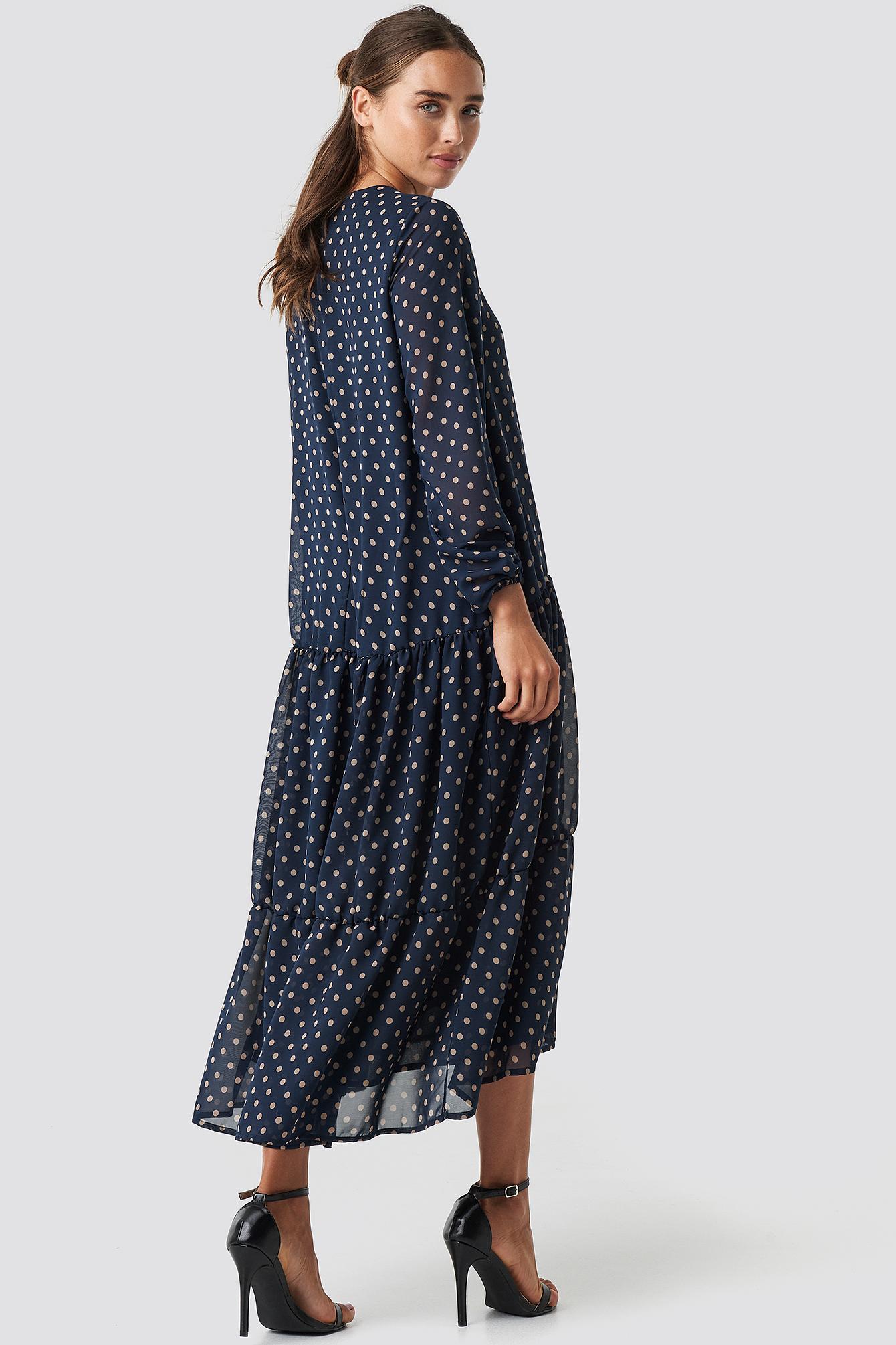 Dotted Ruffle Chiffon Dress NA-KD.COM