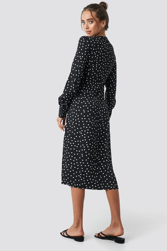 Dotted Straight Dress Black/White dots