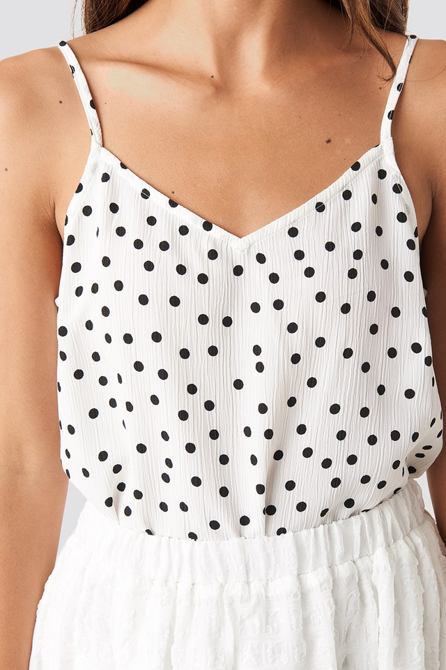 Dotted Strap Singlet White/Black Dot